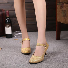 Women's Character Shoes Heels Pumps Sparkling Glitter With Ankle Strap Latin