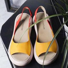 PU Flat Heel Sandals Flats Peep Toe With Others shoes