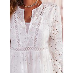 Lace/Solid Long Sleeves/Flare Sleeves Shift Knee Length Casual Tunic Dresses