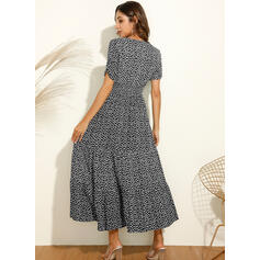 PolkaDot Short Sleeves A-line Skater Casual/Vacation Midi Dresses