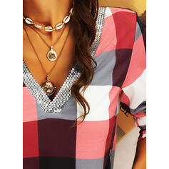 Sequins Plaid V-Neck Long Sleeves Casual Blouses