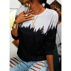 Print Round Neck Long Sleeves Sweatshirt