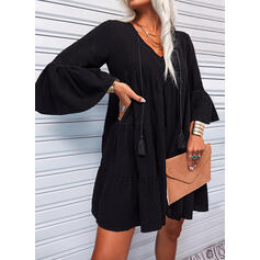 Solid 3/4 Sleeves/Flare Sleeves Shift Above Knee Little Black/Casual Tunic Dresses