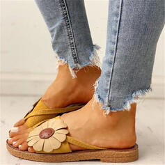 Women's PU Flat Heel Sandals Slippers With Flower shoes