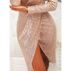 Sequins Long Sleeves Sheath Knee Length Party/Elegant Dresses