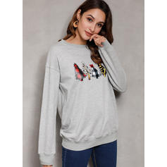 Print Round Neck Long Sleeves Casual Christmas Blouses