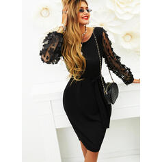 Solid Long Sleeves Bodycon Knee Length Little Black/Party/Elegant Pencil Dresses