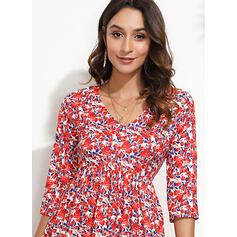 Print/Floral Long Sleeves Shift Above Knee Casual/Elegant Tunic Dresses