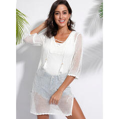 Solid 3/4 Sleeves Shift Knee Length Casual/Vacation Tunic Dresses