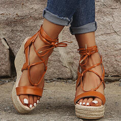 Women's Leatherette Wedge Heel Sandals With Lace-up shoes