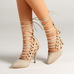 Women's Suede Stiletto Heel Pumps Closed Toe With Lace-up Hollow-out shoes
