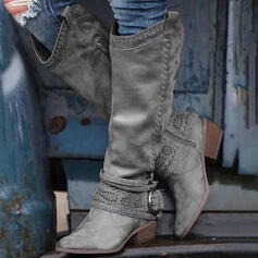 Women's PU Chunky Heel Knee High Boots Round Toe With Buckle Zipper shoes
