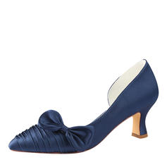 Women's Silk Like Satin Stiletto Heel Pumps With Bowknot Ruffles
