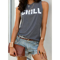 Print Letter Round Neck Sleeveless Casual Knit Tank Tops