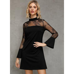 Lace/Solid Long Sleeves/Flare Sleeves Shift Above Knee Little Black/Party Dresses