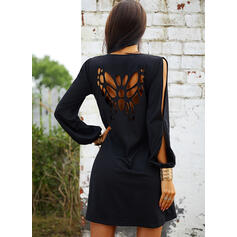 Solid Long Sleeves/Cold Shoulder Sleeve Shift Above Knee Little Black/Casual/Vacation Tunic Dresses