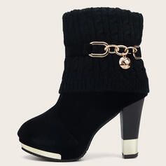 Women's Cloth Cone Heel Boots Ankle Boots Pointed Toe With Beading Solid Color shoes
