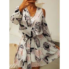Floral/Animal Print 3/4 Sleeves/Cold Shoulder Sleeve Sheath Above Knee Casual Dresses