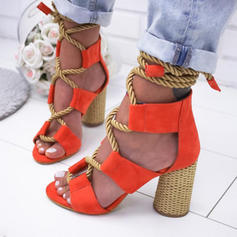 Women's PU Stiletto Heel Sandals Pumps With Lace-up shoes