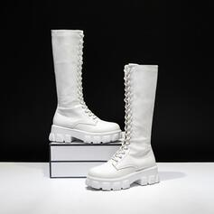 Women's PU Low Heel Chunky Heel Boots Knee High Boots High Top With Lace-up Solid Color shoes