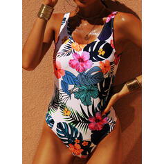 Floral Backless Strap U-Neck One-piece Swimsuits