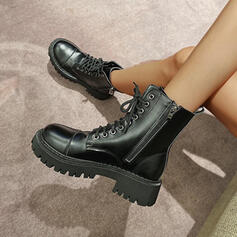 Women's PU Chunky Heel Ankle Boots Martin Boots Round Toe With Zipper Lace-up shoes