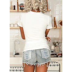 Solid V-Neck Short Sleeves Button Up Casual Basic Knit Blouses
