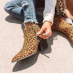 Women's Leatherette Chunky Heel Ankle Boots Pointed Toe With Animal Print Zipper Solid Color shoes