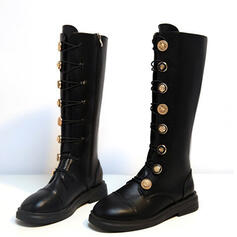 Women's PU Flat Heel Knee High Boots Round Toe With Lace-up Button Solid Color shoes