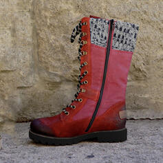 Women's PU Low Heel Mid-Calf Boots Martin Boots With Zipper Lace-up shoes