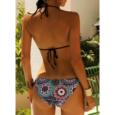 Splice color Tropical Print Halter Sexy Bikinis Swimsuits