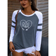 Print Color Block Figure Heart Round Neck Long Sleeves Casual T-shirts