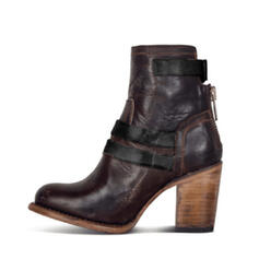 Women's PU Chunky Heel Martin Boots Round Toe With Zipper shoes