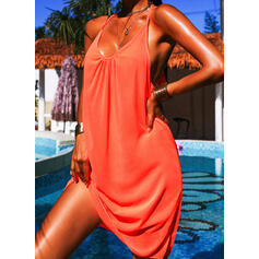 Solid Color Strap Round Neck Fresh Plus Size Boho Cover-ups Swimsuits