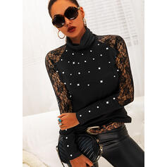 Lace Beaded High Neck Long Sleeves Casual Blouses