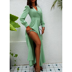 Solid Long Sleeves/Lantern Sleeve A-line Wrap/Skater Party/Elegant Maxi Dresses