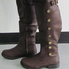 Women's PU Chunky Heel Knee High Boots Round Toe With Rivet Buckle shoes