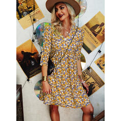 Print/Floral Long Sleeves Shift Above Knee Casual Tunic Dresses