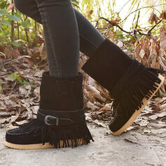 Women's Suede Flat Heel Boots Snow Boots Round Toe With Buckle Tassel shoes