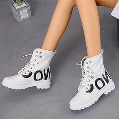 Women's Canvas PU Low Heel Closed Toe Boots Martin Boots High Top Round Toe With Lace-up shoes