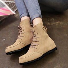 Women's Fabric Flat Heel Flats Boots With Lace-up shoes