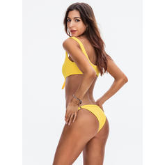 Solid Color Low Waist Knotted Strap Sexy Bikinis Swimsuits