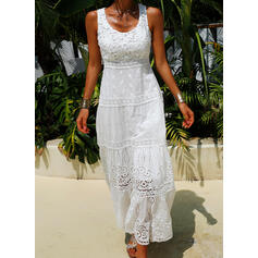 Lace/Solid Sleeveless A-line Skater Elegant Maxi Dresses