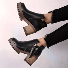 Women's Leatherette Chunky Heel Ankle Boots Martin Boots Round Toe With Zipper shoes