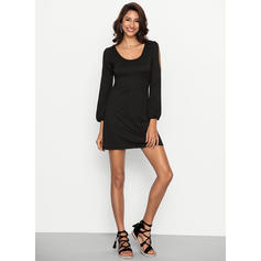 Solid Long Sleeves Shift Above Knee Little Black/Casual Dresses