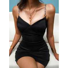 Solid Sleeveless Bodycon Above Knee Little Black/Casual Slip Dresses