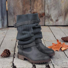 Women's Leatherette Low Heel Closed Toe Boots Mid-Calf Boots Martin Boots With Buckle Split Joint shoes