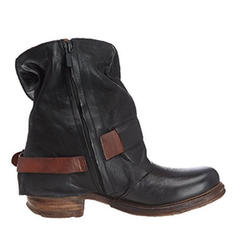 Women's PU Low Heel Flats Closed Toe Boots Mid-Calf Boots With Buckle shoes