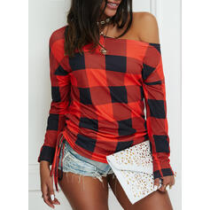 Plaid One-Shoulder Long Sleeves Casual Blouses