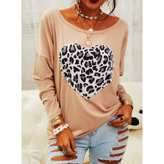 Print Leopard Round Neck Long Sleeves Casual T-shirts